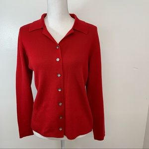 Charter Club Womans  Cardigan Sweater M  Button Front  Red  Merino Wool Vintage